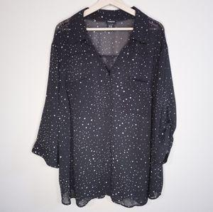 TORRID Galaxy Star Print Sheer Button Down Shirt